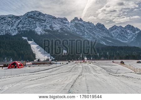 SAPPADA, ITALY - FEBRUARY 20, 2017: Pista Nera ski resort on a sunny winter afternoon.