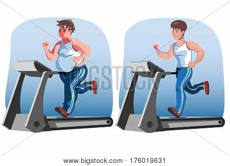 Fat man and thin man running before and after