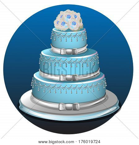 Realistic three tier light blue wedding cake and decoration on silver platter vector illustration