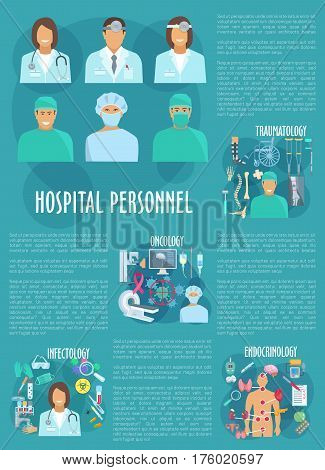 Oncology, traumatology, endocrinology and infectology medical personnel. Vector poster of hospital doctors and healthcare medicines of x-ray an mri, wheelchair and spine trauma, infection test
