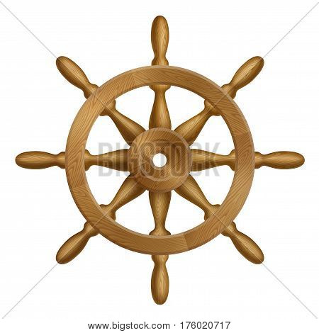 Icon of ship wheel with wooden texture EPS 10 contains transparency.