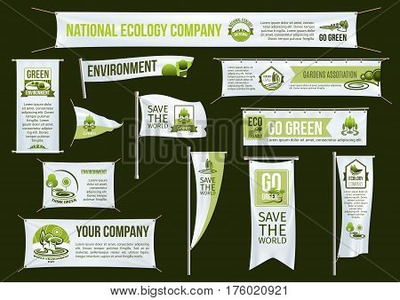 Templates of banners, flags, ribbon and signboards for green eco environment protection and ecology company to save the world. Vector isolated advertising campaign icons of trees and parks