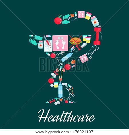Dietetics healthcare poster and medicine symbol of Hygiea bowl and snake. Vector dietary treatments and obesity health medications pills and syringe, overweight scales for fast food and fruit diet