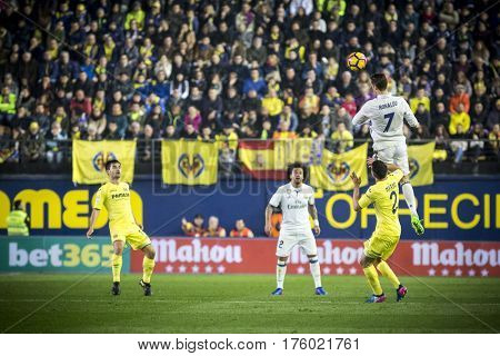 VILLARREAL, SPAIN - FEBRUARY 26: 7 Ronaldo during La Liga match between Villarreal CF and Real Madrid at Estadio de la Ceramica on February 26, 2017 in Villarreal, Spain