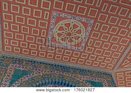 Ceiling detail of the Dome of the Chain on east side of the Dome of the Rock, an Islamic shrine located on the Temple Mount in the old city Jerusalem, Israel.