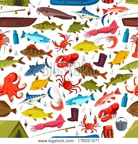 Fishing seamless pattern of fish and mollusks catch. Vector seafood crab, salmon trout and tuna or flounder on fishing rod. Shrimp prawn and squid, pike and perch on fisherman tackle hook and boat
