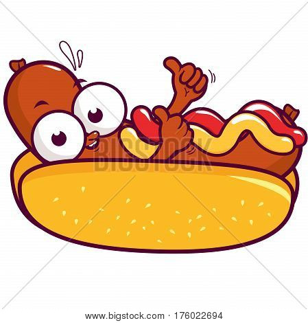 Vector Illustration of a cartoon hot dog character with mustard and ketchup doing a thumbs up gesture.