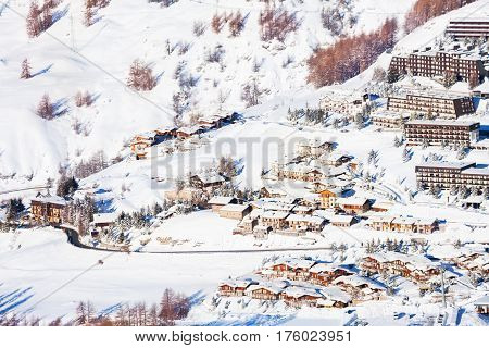 Beautiful view of snowcapped Sestriere village from above, Piedmont, Italy