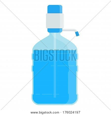 Large plastic bottles of clean drinking water. Flat vector cartoon illustration. Objects isolated on a white background.