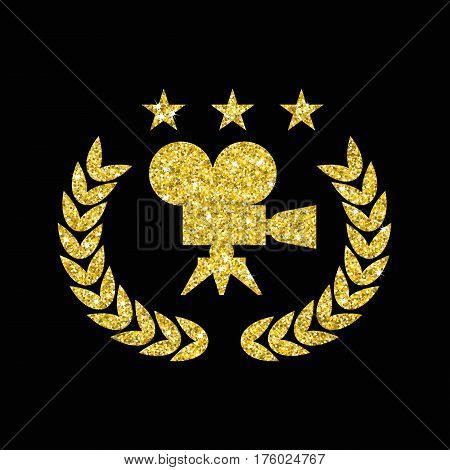 Shining golden film Award for best film in form of logo with camera, laurel branch. Movie Theater, Cinematic Award, Movie Premiere. Flat vector cartoon illustration. Objects isolated on background.