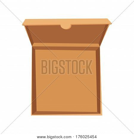 Open pizza box vector illustration. Delivery service isolated on background. Craft box for pizza. Pizza delivery business, food box. Delivery pizza package