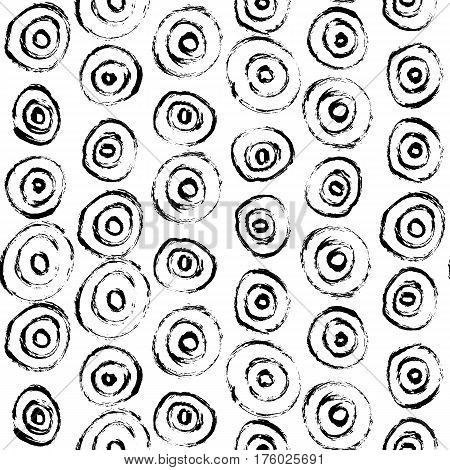 Hand-drawn grunge pattern with a dry brush using black ink. Pattern made of geometric shapes, strokes and spots. Vector background can be used in printing, fabric, packaging, fashion, wraping