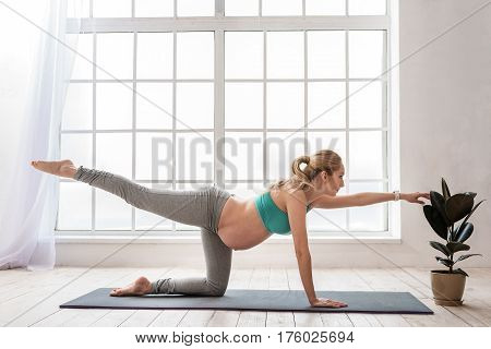 Finding equilibrium. Side view of young expectant yoga mother working out in living room while keeping balance on sport mat