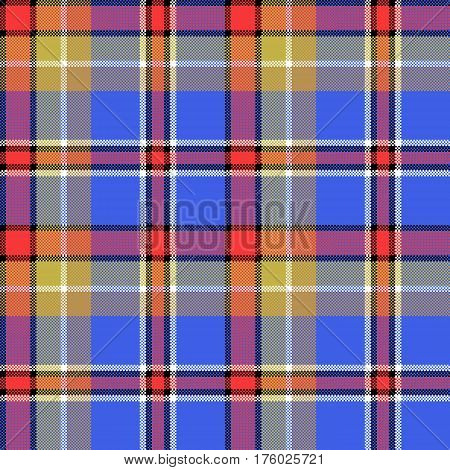 Blue madras fabric texture square pixel seamless pattern. Vector illustration.