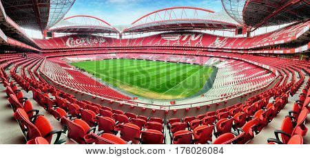 LISBON PORTUGAL - FEBRUARY 18 : Stadium and Sport Lisbon e Benfica February 18 2017 in Lisbon Portugal. The stadium was rebuilt in 2003 for the UEFA EURO 2004 with a total capacity of 65127 spectators.