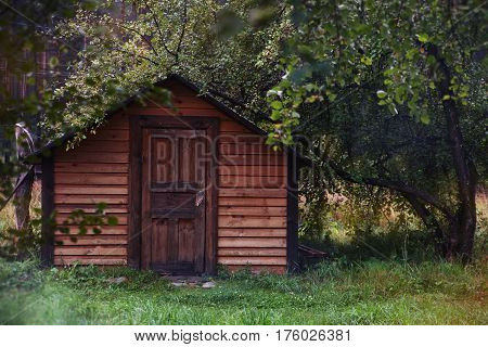 little tourist house near the tree. Altai mountain village