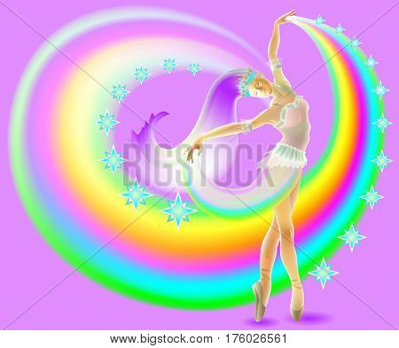 Illustration of ballerina dancing with rainbow, vector cartoon image.