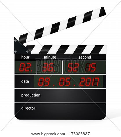 Digital clapboard isolated on white background. 3D illustration.