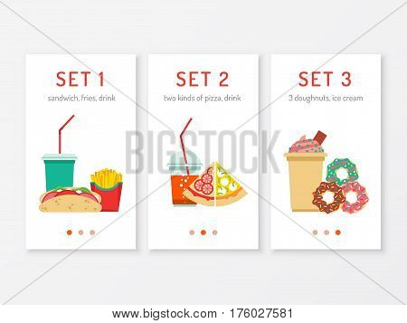 Template mobile menu with a set of fast food for lunch. Vector menu for mobile phone