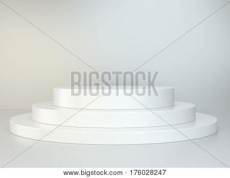 Round podium. Pedestal scene 3D rendering stand