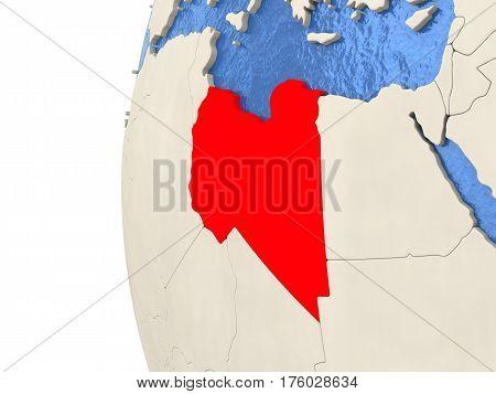 Libya On 3D Globe