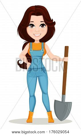 Farmer girl dressed in work jumpsuit. Cute cartoon character holding a shovel. Can be used for animation as design element and in any farm related project. Dismantled over the layers. Vector