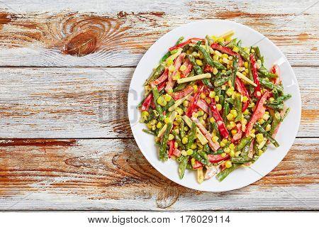 Green Beans, Corn, Ham And Cheese Salad