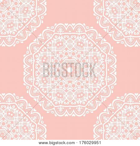 Seamless baroque pink and white pattern. Traditional classic orient ornament
