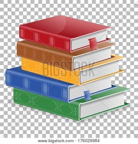 Education Concept - Stack of Colored Books with Bookmarks on transparent background. isolated vector illustration