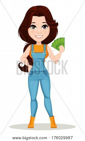 Farmer girl dressed in work jumpsuit. Cute cartoon character holding money. Can be used for animation as design element and in any farm related project. Dismantled over the layers. Vector