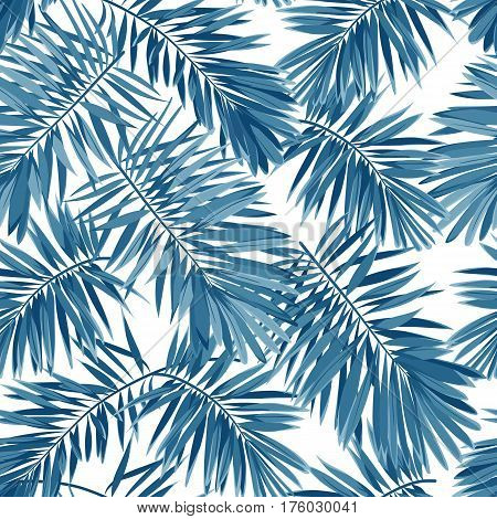 Indigo seamless pattern with monstera palm leaves on dark background. Summer tropical camouflage fabric design. Vector illustration.