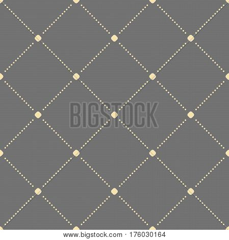 Geometric dotted gray and golden pattern. Seamless abstract modern texture for wallpapers and backgrounds