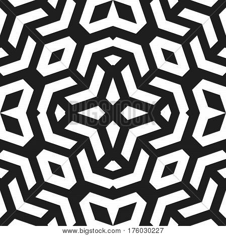 Seamless black and white pattern for your designs and backgrpounds. Modern geometric ornament