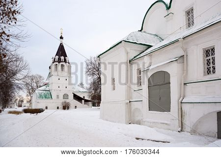 Alexandrov Russia - January 8 2015: View of the Intercession Church located in the Alexandrov kremlin the former residence of Tsar Ivan the Terrible in the 16th century.