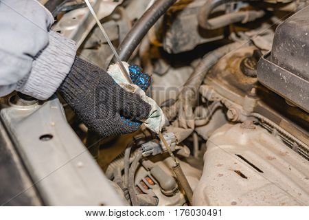 The Man Checks Oil Level In The Car.