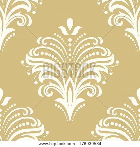 Floral golden and white ornament. Seamless abstract classic pattern with flowers