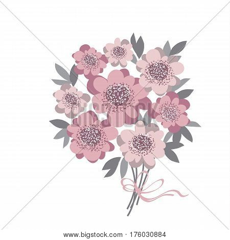 abstract stylized floral. abstract wedding bouquet  with rosy color camellia with gray leaves. vector illustration for invitation, greetings, cards. elegant flower bunch
