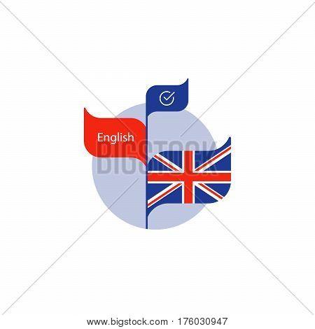 Learning British English concept, language course, English flag icon, vector flat illustration