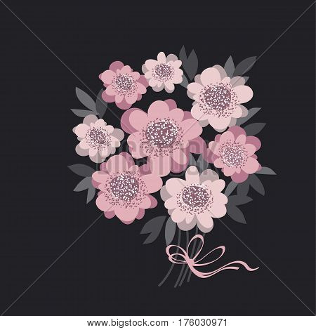 abstract wedding bouquet with rosy color camellia and gray leaves. vector illustration for invitation, greetings, cards. elegant flower bunch on black background. abstract stylized floral.