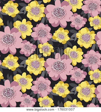 yellow and rosy stylized floral seamless pattern. abstract camellia flowers with gray leaves. repeatable motif vector illustration for wrapping paper, fabric, background