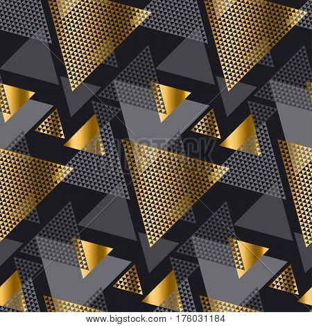 Gold and black color creative repeatable motif with triangles for wrapping paper or fabric. Modern seamless pattern vector illustration in geometry style.