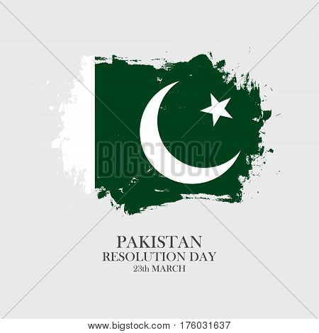 Pakistan Resolution Day 23 march greeting card with pakistani national flag brush stroke background. Vector illustration.