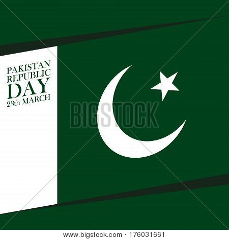 Pakistan Resolution Day 23 march greeting card. Vector illustration.