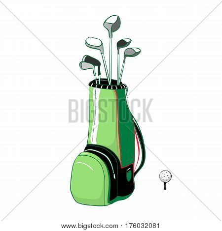 Vector illustration of red and green golf bag vertical layout with golf clubs on a white background in the style thumbnail