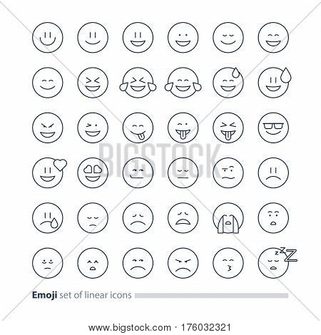 Big set of small linear emoji icons, black white mono line design, facial expressions, emoticon vector