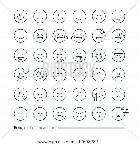 Big set of small linear emoji icons, black white mono line design, facial expressions, emoticon vector