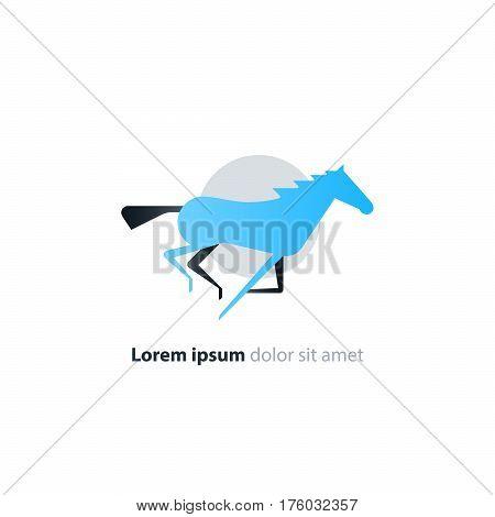 Galloping blue horse logo flat design, speed concept vector icon