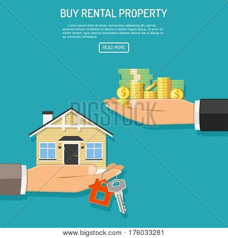 Hand with money, coins and hand with house and keys. flat style icons. sale, purchase, lease, rent of real estate concept. isolated vector illustration