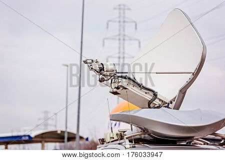 Satellite Antenna Mounted On Television Van