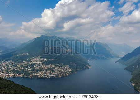 View of Monte Bre mountain from Monte San Salvatore Lugano lake Switzerland